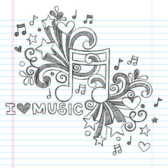 Music Note I Love Music Back to School Sketchy Doodle Vector