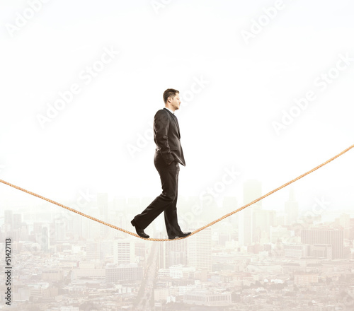 man walking on rope