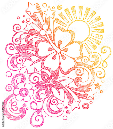 Hibiscus Tropical Summer Sunset Vacation Sketchy Doodle Vector