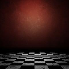 Grunge room with checkerd floor