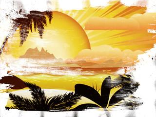 Grunge sunset tropical island