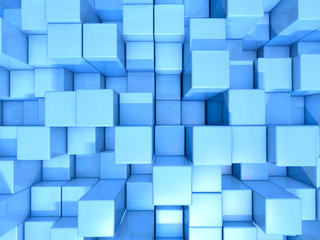 Blue cubes abstract background