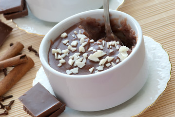 Homemade chocolate cream close-up