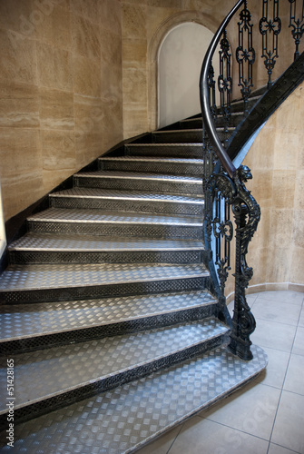 Gothic staircase with metal steps