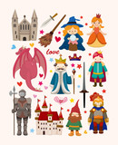 set of fairy tale element icons