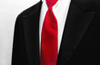 red tie with tuxedo