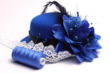 Blue hat and white lace