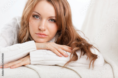 beautiful sexy woman wearing sweater