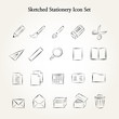 Sketched stationery icon set