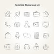 Sketched menu icon set