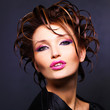 woman with fashion  hairstyle and bright sexy pink lips
