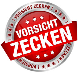 "Button Banner ""Vorsicht Zecken"" rot/silber"