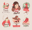 Retro female beauty emblems