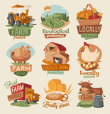 Fototapety Retro farm emblems