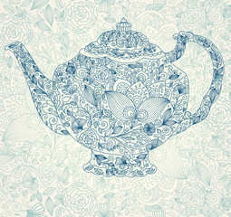 Vector beautiful lacy teapot
