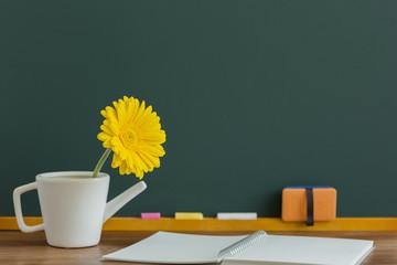 黒板とガーベラの花