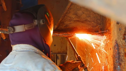 Welder in shipbuilding