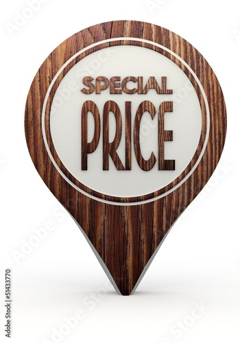 special price sign on a set of wooden  markers