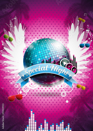 Vector Summer Beach Party Flyer Design with disco ball