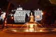 Fountain in gardens of Sabatini and Royal Palace at dark night