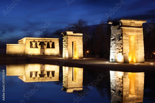 Temple of Debod with illumination.