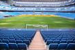 Leinwanddruck Bild - Empty football stadium with blue seats, rolled gates