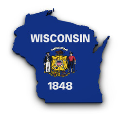 Wisconsin Flag Map Shape