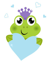 Cute frog holding Heart isolated on white