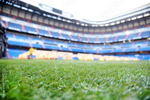 Foto op Canvas Stadion Close up of green lawn with marking at outdoor football stadium