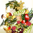 Vector food  assorted fruit and vegetables olives, apple, raspbe