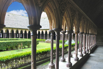 The monastery garden in the abbey of Mont Saint Michel. Normandy