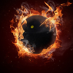 Hot squash ball in fires flame