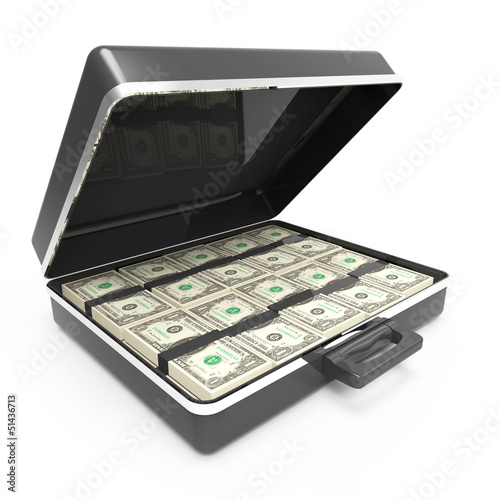 Briefcase full of US Dollars