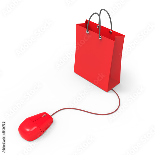 Red shopping bag and mouse