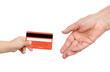 hand of the child gives a credit card to a hand of the old man