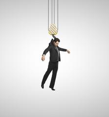 man hangs hook