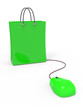 Green shopping bag and mouse