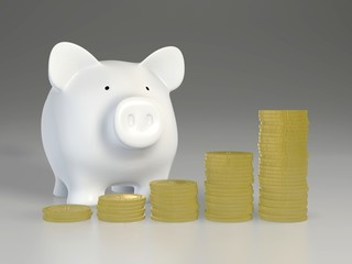 Piggy bank - increasing piles of coins