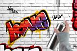 Love graffiti on brick wall