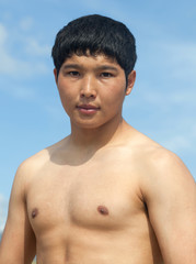 Muscled Mongolian model