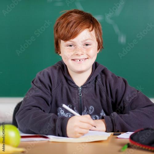 lächelnder junge in der schule