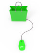 3d Green shopping bag with mouse - top view