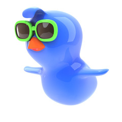 Blue bird flying with sunglasses on