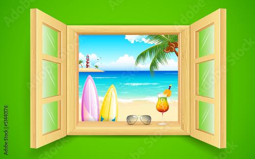 Sea Beach View from Window