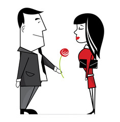Business man giving a rose to a business woman