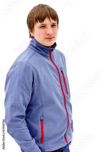 Portrait of a young guy in a jacket