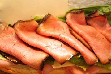 Slices of Roast Beef on a Sandwich