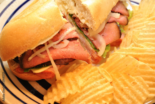 Tasty Roast Beef Sandwich with Potato Chips