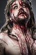 Jesus Christ with crown of thorns white on the cross, Easter in
