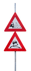 Traffic signs for loose chippings and slippery road